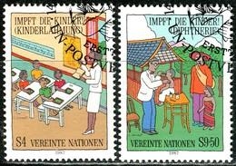 UNO Wien - Mi 77 / 78 - OO Gestempelt (A) - 4-9,50s       Kinderschutzimpfungen - Centre International De Vienne