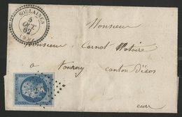 """1862 AUBE N° 14B Obl. Pc """"2935"""" + C-à-d Perlé (T22) """"SOULAINES (9) 5/10/62"""" Sur Lettre Pour Tourny - Marcophilie (Lettres)"""