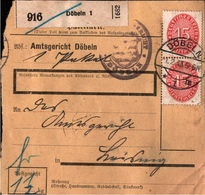! 1935 Paketkarte Deutsches Reich, Döbeln Nach Leisnig, Dienstmarke - Storia Postale