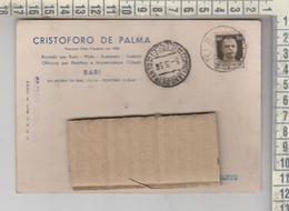 Storia Postale 1938 Bari Cristoforo De Palma Per Corigliano D'otranto - 1900-44 Vittorio Emanuele III