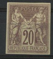 N°34 Cote 66 € SIGNE A. BRUN / COLONIES GENERALES 20ct Brun-lilas S/ Paille Type Sage. Voir Description - Sage