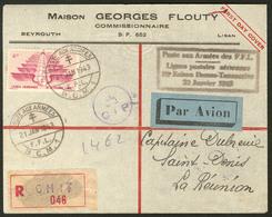Lettre Poste Aérienne. 1ere Liaison Postale Aérienne Damas-Tananarive 22 Janvier 1943. No 5 Sur Enveloppe Recom-mandée P - Levant (1885-1946)