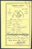 HANNOVER 1852, AUFGABESCHEIN FÜR EIN PAKET VON DIEPENAU NACH DIEPHOLZ - Allemagne