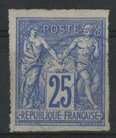 N°36 Cote 11 € COLONIES GENERALES 25ct Outremer Type Sage. Oblitération Bleue. TB - Sage