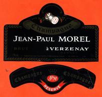 étiquette + Collerette De Champagne Brut Jean Paul Morel à Verzenay - 75 Cl - Champagne