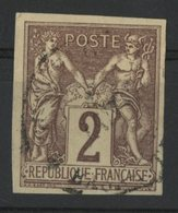 N°38 Cote 38 € COLONIES GENERALES 2ct Lilas-brun S/ Paille Type Sage. Oblitéré. TB - Sage