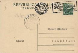 Intero C139 ; Bari 6-4-1949 Per Valenzano ; Timbro A Targhetta - 6. 1946-.. Repubblica