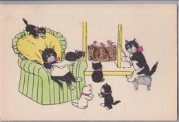 Cpa Chats Illustrateur Chat Collage Timbres Timbre Pasteur - Katten