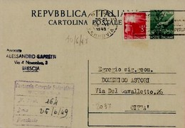 Intero C139 ; Brescia 10-3-49 - 6. 1946-.. Repubblica