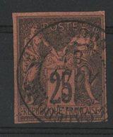 """N°43 Cote 350 € SIGNE A. BRUN / COLONIES GENERALES 25ct Noir S/ Rouge Type Sage. Obl. """"Nouvelle Calédonie Nouméa"""". TB - Sage"""