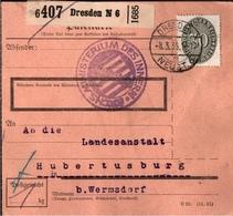 ! 1935 Paketkarte Deutsches Reich, Dresden Nach Hubertusburg, Dienstmarke - Service