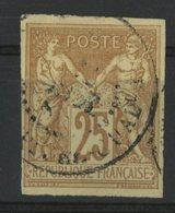 N°44 Cote 40 € COLONIES GENERALES 25ct Jaune Bistre Type Sage. Oblitéré. TB - Sage