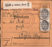 ! 1934 Paketkarte Deutsches Reich, Stolberg Nach Roßla, Dienstmarke - Officials