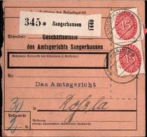 ! 1934 Paketkarte Deutsches Reich, Sangerhausen Nach Roßla, Dienstmarke - Officials