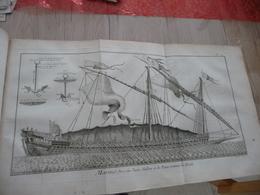 1778 Encyclopédie Diderot D'Alembert Partie Marine Texte + 44 Planches Dont 24 Simples 16 Doubles Et 4 Triples - Bateaux
