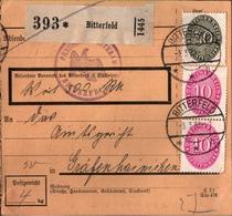 ! 1933 Paketkarte Deutsches Reich, Bitterfeld Nach Gräfenhainichen, Dienstmarke - Dienstpost