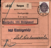 ! 1934 Paketkarte Deutsches Reich, Torgau Nach Bad Liebenwerda, Dienstmarke - Dienstpost