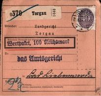 ! 1934 Paketkarte Deutsches Reich, Torgau Nach Bad Liebenwerda, Dienstmarke - Officials