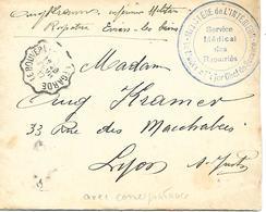 74-cachet Hôpital -Service Médical Des Rapatriés Sur Lettre Avec Correspondance à Evian-les-Bains En 1917 - Marcophilie (Lettres)