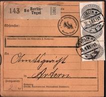 ! 1933 Paketkarte , Deutsches Reich, Berlin Tegel, Gefängnis Nach Artern, Dienstmarke - Dienstpost