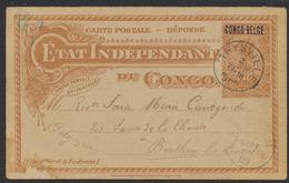 """EP Du Congo (réponse) Au Type 15ctm Orange + Surcharge """"Congo Belge"""" Voyagé De Thysville Vers Berthem çàd Obl Relais - Ganzsachen"""