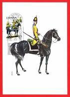 España. Spain. 1975. FDC. Uniformes Militares. Dragon Del Regimiento De Sagunto. Tarjeta Maxima. Maximun Card - Tarjetas Máxima