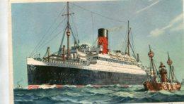 UNITED KINGDON - Artcard Of Steamship RMS  Aurania Passing The Bar Lightship (Mersey) - Cunard Line - Piroscafi