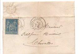 SAGE SUR PLI DE CHAUFFAILLES SAONE ET LOIRE 1887 - Marcophilie (Lettres)