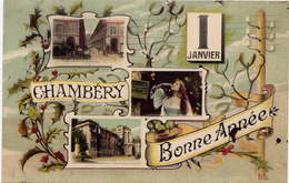"* CHAMBERY , 1 Janvier , Bonne Année , 1909 Avec Timbre Semeuse Perforé "" CL "" - Chambery"