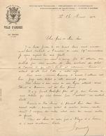 LETTRE MANUSCRITE 1924 VILLE D'ARDRES PAS De CALAIS ARRONDISSEMENT De SAINT OMER - BLASON + CITATION BRAVE Et FIDELE - Manuscrits