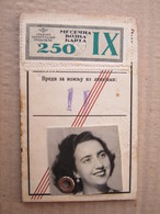 1952 Female Annual Ticket For Bus With Monthly Coupons Transportation Serbia Beograd - Season Ticket