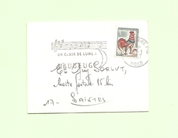 """Coq DECARIS N°1331A - 30c Sur """" Mignonette """". Avec Flamme Illustrée: Un Clair De Lune à MAUBEUGE. - 1962-65 Hahn (Decaris)"""