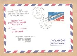 PA 49 - ENVELOPPE DU PREMIER VOL CONCORDE PARIS - RIO DE JANEIRO Du 21.01.1976. TB. - Poste Aérienne