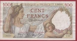 """100 Francs """"Sully"""" Du 04/12/1941.GN----F/TTB+---ALPH. Z.26533---AUCUN TROU D EPINGLE - 1871-1952 Anciens Francs Circulés Au XXème"""