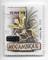 TIMBRES- STAMPS - MOZAMBIQUE / MOÇAMBIQUE -2000- FLEURES - Ansellia Gigantes -SURCHARCHE NOIR 10.000 MT / 7,50 MT - RARE - Végétaux