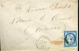 POIX TERRON Type 16 21 FEVR 76 + GC 2917 Sur N°60 Type 3 25c Cérès Pour OMONT Cachet OR ORIGINE RURALE - Marcophilie (Lettres)