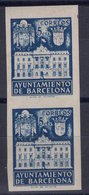 España 1942. Barcelona. Ed 34s Pareja. Variedad. Serie 9 Letra F Triple Impresion. MNH. **. - Barcelona