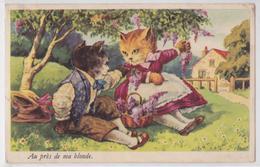 Au Près De Ma Blonde Cpa Couple Chat Habillé Illustrateur - Chats