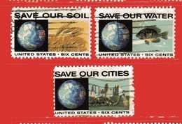 (Us2) USA °- 1970 - LUTTE Contre La POLLUTION . Yvert . 903-904-905.  USED. - Stati Uniti