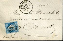 MEZIERES Type 17 17 JANV 73 + GC 2351 Sur N°60 Type 1 25c Cérès Pour Omont - 1849-1876: Période Classique