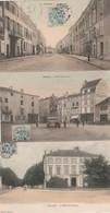 3 CPA COULEUR:MIRECOURT (88) SOUS PRÉFECTURE,MAGASIN POELES EN FAIENCES PLACE JEANNE D'ARC,RUE GERMNIGNY..ÉCRITES - Mirecourt