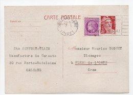 - Carte Postale Perforée MANUFACTURE DE CORSETS AUFFRAY-CLAIR, ORLÉANS Pour TISSAGES DUGUEY, FLERS 7.5.1948 - - Enteros Postales