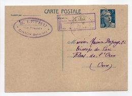 - Carte Postale MAISON LETHU, CLISSON Pour TISSAGES DUGUEY, FLERS 24.5.1948 - 5 F. Bleu Marianne De Gandon - - Biglietto Postale