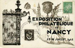 Perforation EPN Exposition Philatélique Nancy 26 7 1942 Sur Carte Oblitération Temporaire + Nancy RP Charnières Au Verso - Francia