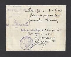 Bon Pour 0.500 Kg De Viande   -   Sainte Verge (79)  -   22/07/40  -  Famille  Ancien - Bons & Nécessité