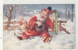 Schwein Mit Musizierendem Knaben - 1913     (A-159-190721) - Maiali
