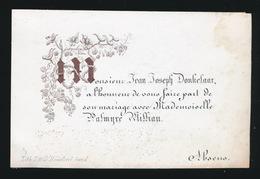 PORSELEIN KAART 10X6 CM JEAN DONKELAAR & MADEMOISELLE PALMYRE WILLIAU - Mariage