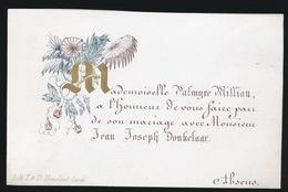 PORSELEIN KAART 10X6 CM  MADEMOISELLE PALMYRE WILLIAU & MONSIEUR JEAN DONKELAAR - Mariage