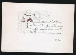 PORSELEIN KAART 10X6 CM  MONSIER CHARLES BERNARD & MADEMOISELLE CATHERINE PIERLE - Mariage
