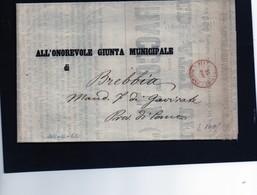 CG1 - Milano - Doppio Cerchio Sardo Ital. Rosso - Stampati Franchi - Lettera Per Brebbia 25/4/1860 - Italia